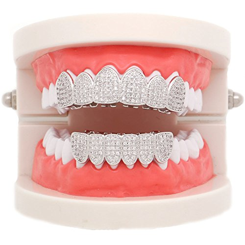Lureen 14k Gold Silver Pave Full CZ Grillz 6 Top and Bottom Hip Hop Teeth Sets (Silver Set) by Lureen (Image #3)'