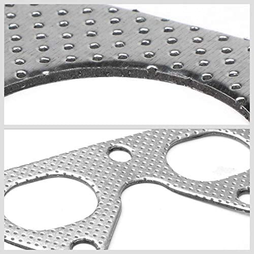 Aluminum Graphite, Steel Bolts//Studs, Silver Exhaust Gasket Works With 93-01 Honda Prelude Base//VTEC 2.2L DOHC