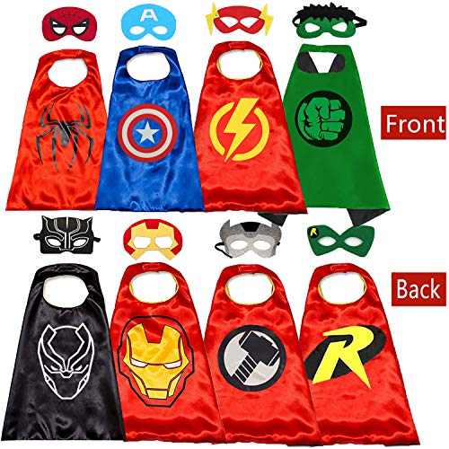 Superhero Capes and Masks for Kids - Kids Costumes Double Side Capes Best Superhero Toys and Kids Gifts Yellow -