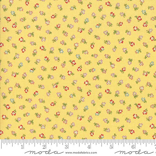 Moda Coco by Chez Moi Quilt Fabric Tiny Flower Style 33395/11 Lemon ()