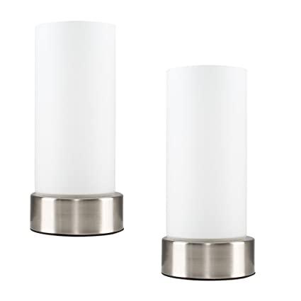 Of Chrome Bedside Shades Touch Table White Glass With Pair Lamps tdCshxQr