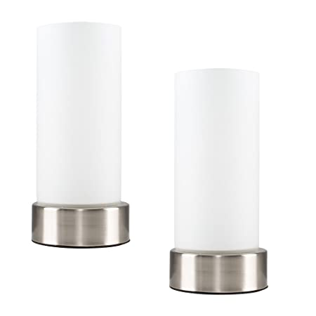 bedside table lamps. Pair Of - Chrome Touch Bedside Table Lamps With White Glass Shades A