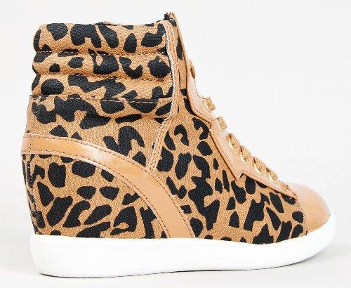 Hidden Up PATROL Wedge Pu Sneaker Lace Chic Style Qupid Printed Patent Tan Shoe Street 29 Urban adqdx8wzH