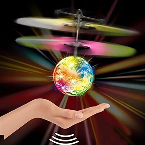 Flying Ball Toys, RC Toy for Kids Boys Girls Gifts Rechargeable Light Up Ball Drone Infrared Induction Helicopter with Remote Controller for Indoor and Outdoor Games (White)