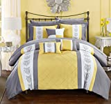 King Comforter Sets with Curtains Chic Home Clayton 10 Piece Comforter Set Pintuck Pieced Block Embroidery Bed in a Bag with Sheet Set, King Grey Yellow