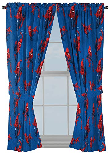 Jay Franco Marvel Spiderman Spidey Crawl Blue 63 Inch Drapes 4 Piece Set - Beautiful Room Décor & Easy Set Up - Window Curtains Include 2 Panels & 2 Tiebacks (Official Marvel Product)