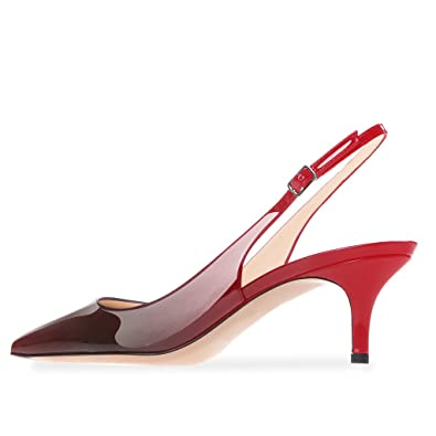 351b7568ad469 Modemoven Women's Patent Leather Pointed Toe Slingback Ankle Strap Kitten  Heels Pumps Evening Stiletto Shoes 6.5CM