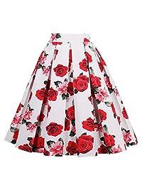 Yotown Falda de Rockabilly para Mujer, Falda de Verano Falda Plisada hasta la Rodilla, Falda de Tela, Falda Plisada Elegante de A-Line Falda de Cintura Alta para Rodilla, S-XXL(L)