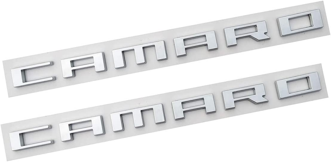 2Pc black 3D Badge Replacement for Chevrolet Camaro 2010 2011 2012 2013 2014 2015 Fender Emblems Nameplate Letters Insignia Fifth Generation Yuauto Camaro Letter Emblem