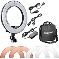 "Neewer RL-12 LED Ring Light 14 outer/12"" on Center 5500K Dimmable Light Filter Power Adapter Makeup, Camera/Phone Video Shooting"
