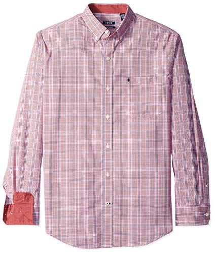 IZOD Men's Big and Tall Button Down Long Sleeve Stretch Performance Plaid Shirt, Biking Red 02, 2X-Large ()