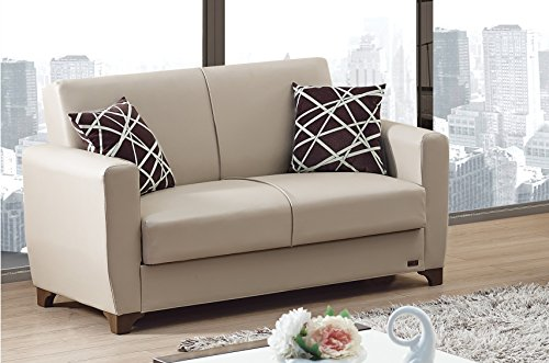 Modern Beige Bonded Leather (BEYAN Yonkers 2016 Collection Modern Convertible Bonded Leather Loveseat with Easy Access Storage Space, Includes 2 Pillows, Beige)