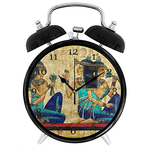 22yiihannz AUUXVA KUWT Ancient Egyptian Parchment Alarm Clock,Silent Non-Ticking 9.5 Inch Clock Acrylic Art Painting Home Office School Decor- Vintage Double Bell Design - 3.8 inch