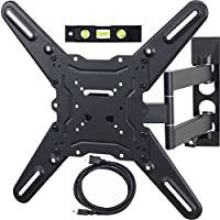 VideoSecu ML531BE TV Wall Mount for most 22'-55' LED LCD Plasma Flat Screen Monitor up to 88 lb VESA 400x400 with Full Motion Swivel Articulating 20 in Extension Arm, HDMI Cable & Bubble Level WP5