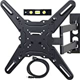 VideoSecu ML531BE TV Wall Mount for most 22 -55 LED LCD Plasma Flat Screen Monitor up to 88 lb VESA 400x400 with Full Motion Swivel Articulating 20 in Extension Arm, HDMI Cable and Bubble Level WP5