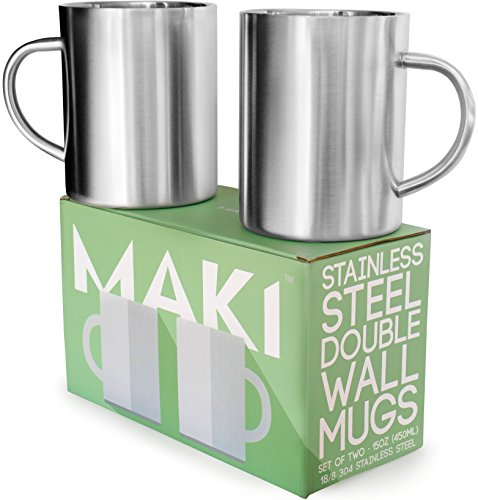 Stainless Steel Double Wall Mugs - Perfect for Coffee and Tea - Set of 2, 15oz (450mL) (2, Stainless Steel) by Maki
