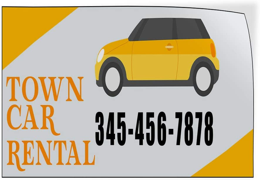 Custom Door Decals Vinyl Stickers Multiple Sizes Town Car Rental Phone Number Business Town Car Rental Outdoor Luggage /& Bumper Stickers for Cars Orange 27X18Inches Set of 10