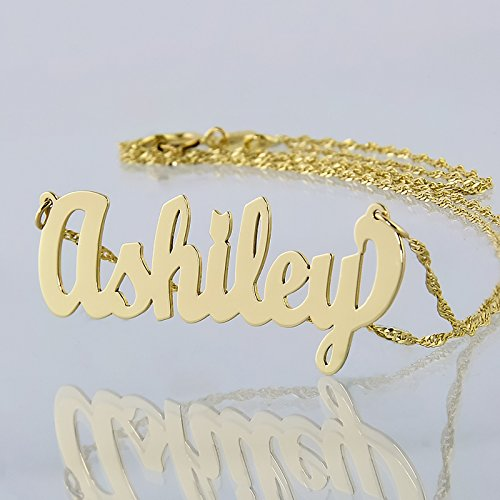 Dainty Name Necklace 10k Gold Personalized Pendant Chain 1.25 Inch Charm (18) by Soul Jewelry (Image #1)