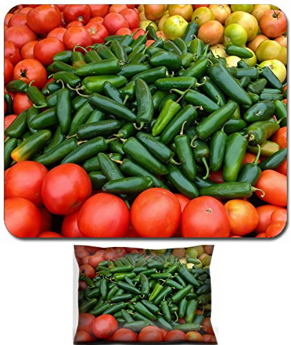 - Liili Mouse Wrist Rest and Small Mousepad Set, 2pc Wrist Support ID: 23309249 Green Jalapenos and Red Tomatoes at the Market