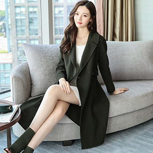 Female Autumn of Models Winter in Coat Was Woolen green Section Slim Temperament MIF Long and the Dark Fashion Child Coat xw1n1Pq08