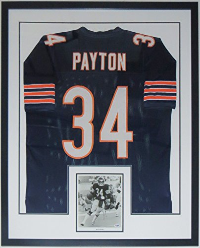 Walter Payton Chicago Bears Jersey & Signed 8x10 Photo - PSA DNA COA Authenticated - Custom Framed (Walter Payton Autographed Jersey)