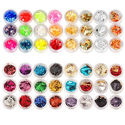 - 48 Boxes Nail Art Glitter Nail Chunky Glitter Sequins Foil Nail Chips Candy Colors Flakes Nail Kit Sequins