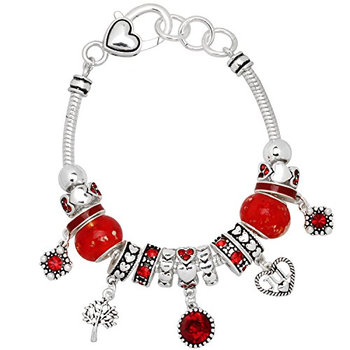 Falari Birthstone Bracelet Multi-Color Charm Beads Silvertone July ()