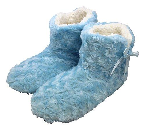 Enimay Dames Slipper Boots Lounge House Relaxed Schoenen Fuzzy Pluizig Zacht Blauw 3