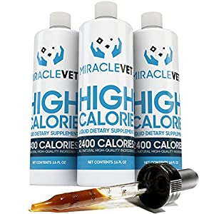 Miracle Vet High Calorie Weight Gainer for Dogs & Cats – 2,400 Calories (1 Bottle – 16 oz)