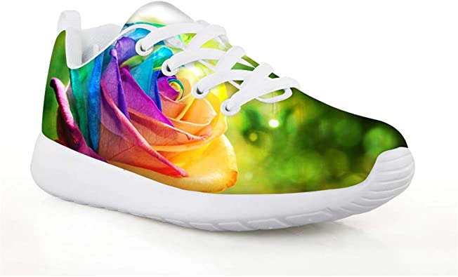 New Flower Rose Sneaker Comfortable Outdoor Running Shoes Breath Womens Girls
