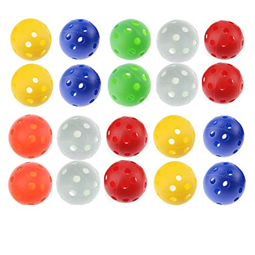 Haishell 20 Pcs Mixed Color Plastic Airflow Hollow Golf Practice Training Sports Balls Golf Accessories (Diameter 1.6…