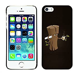 Carcasa Funda Prima Delgada SLIM Casa Case Bandera Cover Shell para Apple Iphone 5 / 5S / Business Style Funny Grumpy Morning Wood