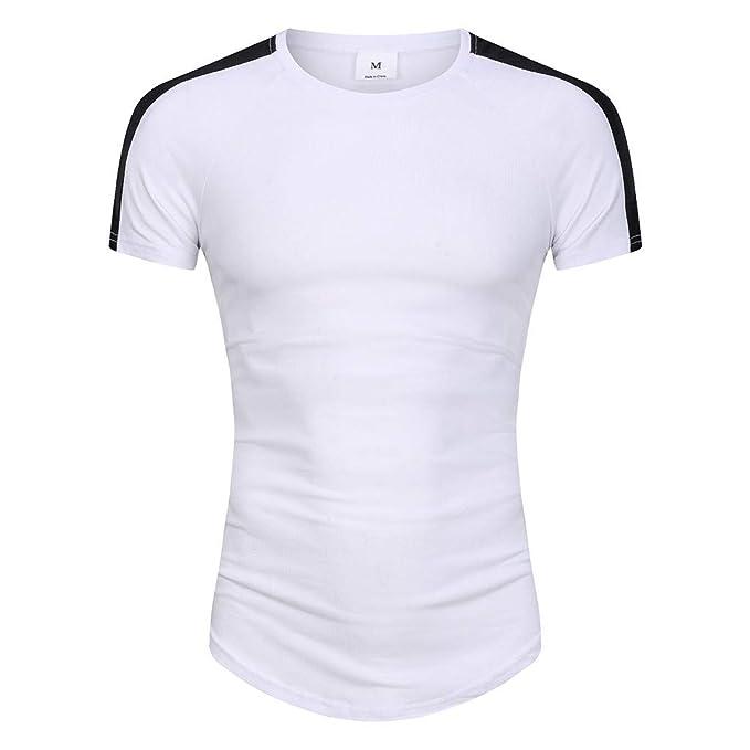 best cheap d9df0 186e0 CUTUDE Camicia a Manica Corta Bicolore con Scollo Tondo a ...