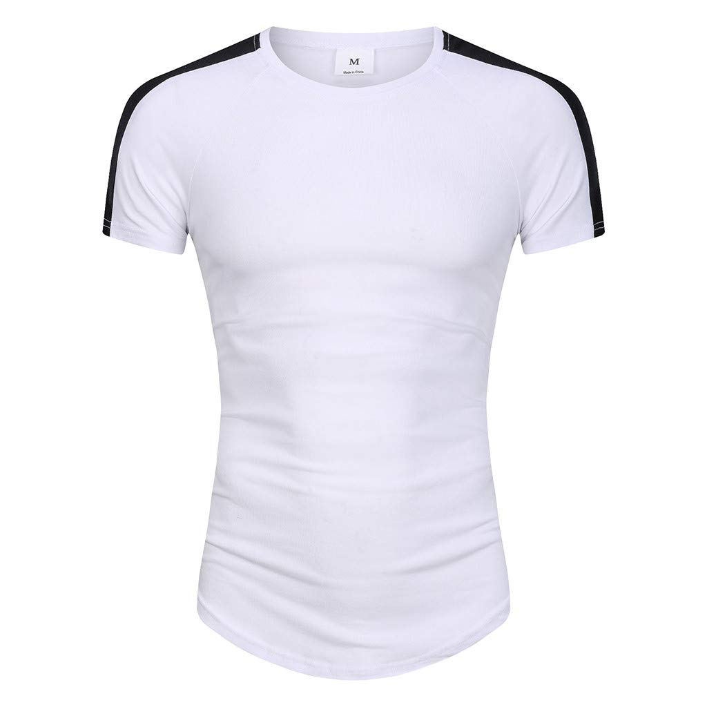 Winsummer Tee Tops Men Color Block Panel Short Sleeve Pullover T-Shirt Casual Slim Fit T Shirts White