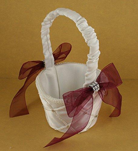 IVORY Wedding Flower Girl Lattice Design Basket Organza Bow & Faux Rhinestone Accent (BURGUNDY WINE BOW)