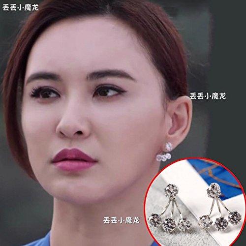 I'm not Mok Liaomei after hanging earrings zircon diamond ear stud earrings ear ornaments row (Earrings Hanging Zircon)