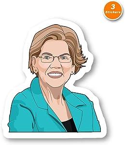 Elizabeth Warren Sticker Democrat Stickers - 3 Pack - Set of 2.5, 3 and 4 Inch Laptop Stickers - for Laptop, Phone, Water Bottle (3 Pack) S214507