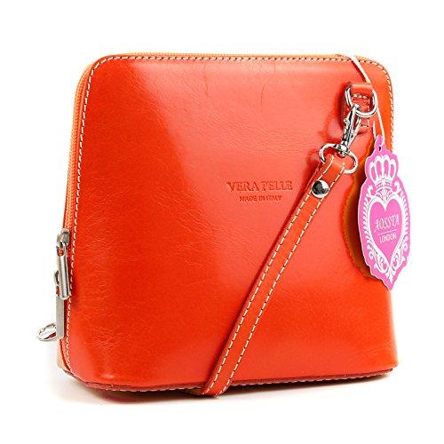 Body Leather Bag Micro Genuine Cross Shoulder Italian Handbag Orange Aossta Small Bag fqwTgEZfY