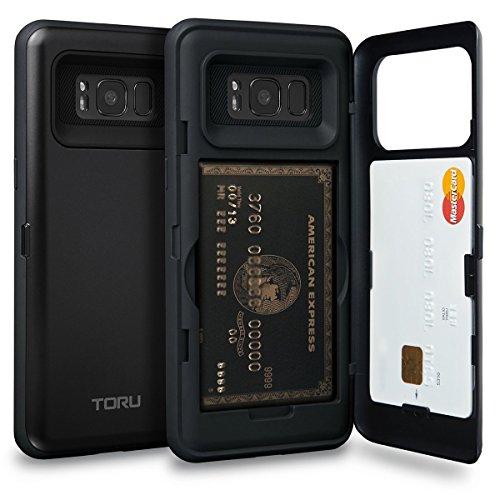 TORU Galaxy S8 Case, [S8 Wallet Case Black] Dual Layer Hidden Credit Card Holder ID Slot Card Case with Mirror for Samsung Galaxy S8 (2017) - Matte Black