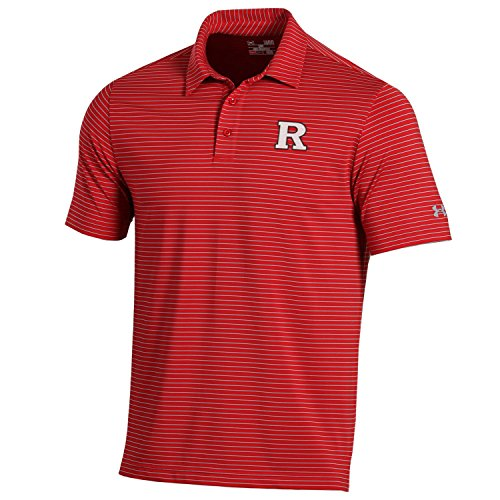 Under Armour NCAA Rutgers Scarlet Knights Men's Playoff Short Sleeve Stripe Polo Shirt, Medium, Red