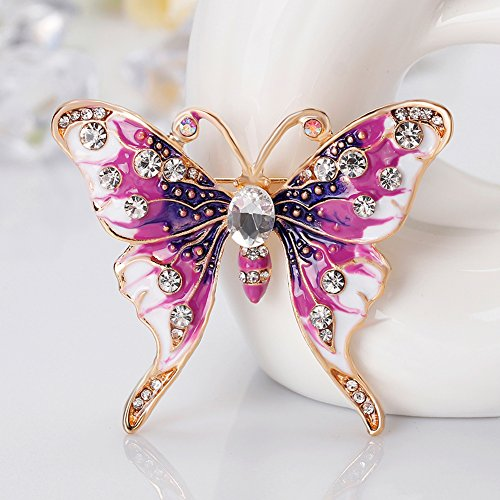 Finance Plan Women Retro Butterfly Multicolor Enamel Shiny Rhinestone Brooch Pin Jewelry Gift by Finance Plan (Image #5)