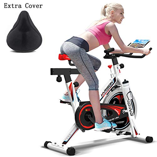 (HARISON Pro Indoor Cycling Bike Belt Drive with iPad Holder, Stationary Exercise Bike for Home use B1850 (with cusion))