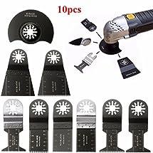 BABAN 10Pcs Mixed Oscillating Multitool Saw Blades Set Fits Bosch, Fein,Black and Decker, Chicago, Craftsman Bolt-on, Dewalt by BABAN
