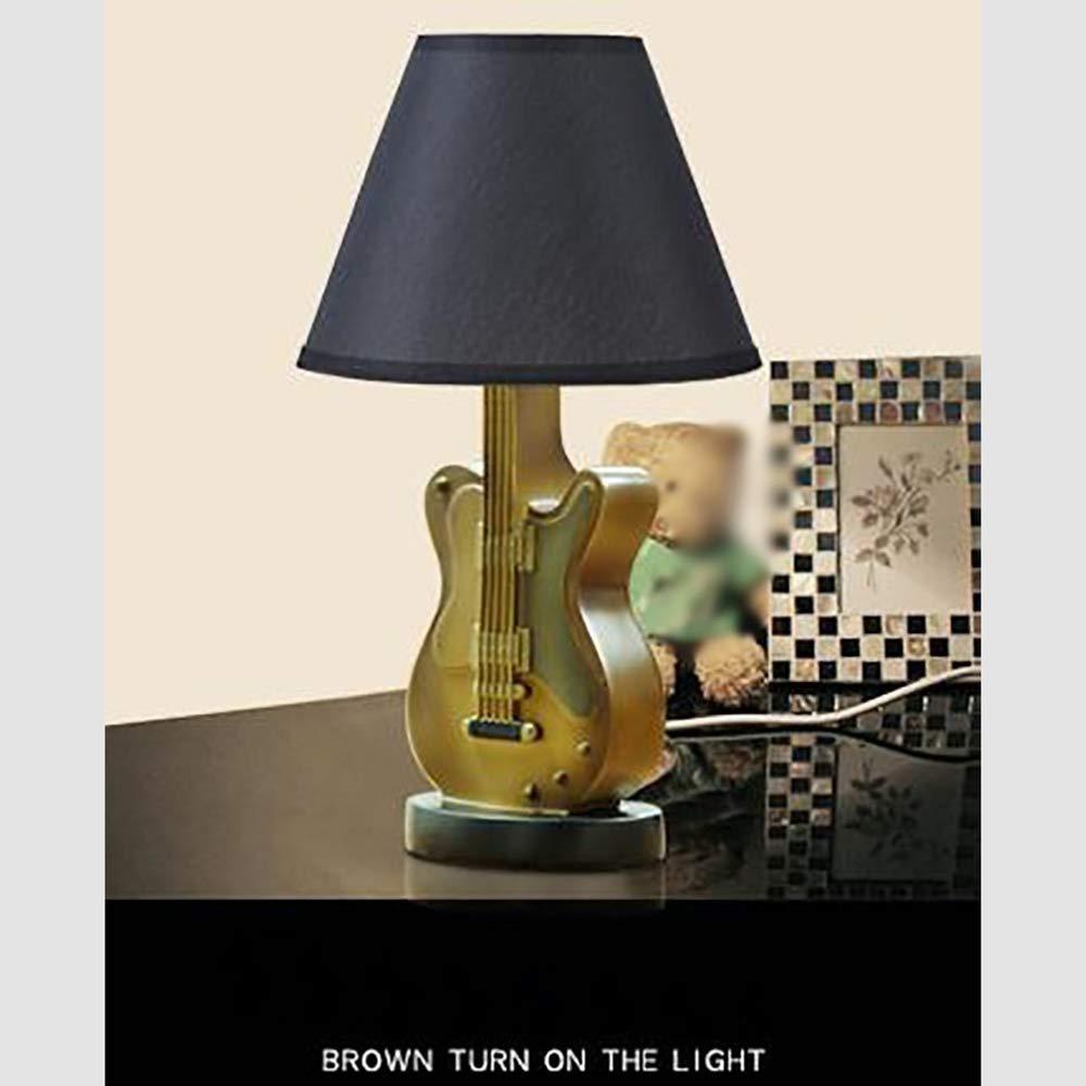 Lámpara de mesa de luz creativa niños sala de dibujos animados guitarra pequeña lámpara de mesa dormitorio lámpara de noche americana creativa minimalista ...