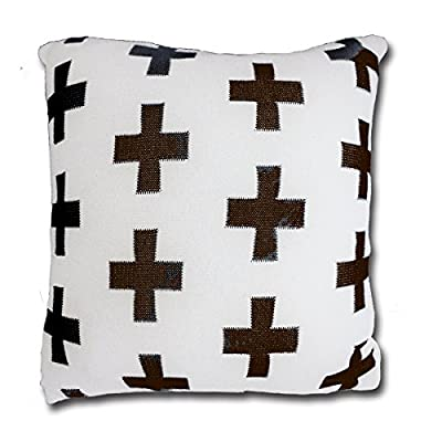 CottonTex Cotton Knitted Decorative Cushion Cover(17.5x17.5) + Pillow(19.5x19.5) Zipper Design Cable Knitting Pattern Super Soft Square Warm Pillow Covers, Coffee, Cover + Pillow - Pure cotton, natural material, soft hand feeling and good warm touch Cover is 17.5 by 17.5 inch (45*45cm). Matching pillow shall be 20 by 20 inch (50*50cm) since knitted cotton cover is of high elastic Zipper closure - living-room-soft-furnishings, living-room, decorative-pillows - 51bnSmvvFGL. SS400  -