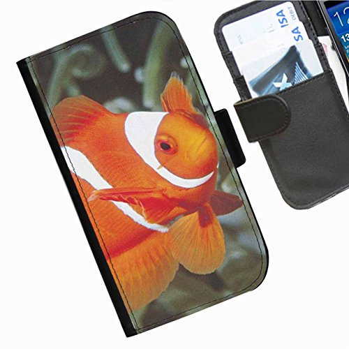 Hairyworm - close up of pretty clown fish Apple iPod touch (6th generation) leather side flip wallet case, cover with card slots, money slot and magnetic clasp to close.]()