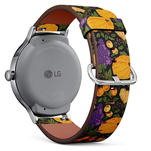Compatible with LG Watch Style - Leather Watch Wrist Band Strap Bracelet with Quick-Release Pins (Autumn Harvest Pumpkin Nuts Fruit)