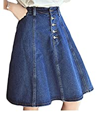 Pcutrone Women Pleated Swing Summer High Waist Denim Elastic Button Skirts