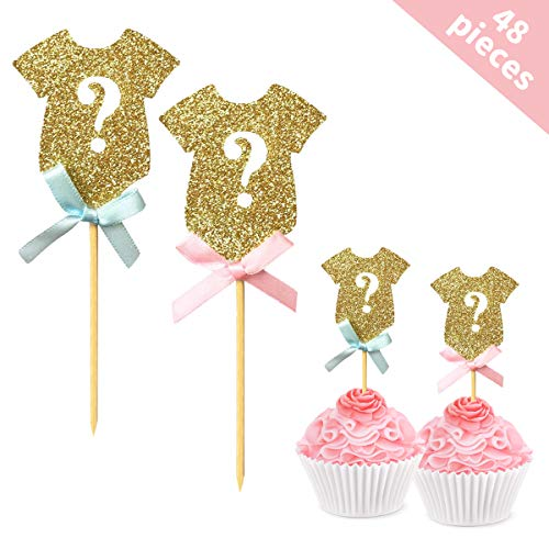 Gender Reveal Cupcake Toppers(48 Pack), BRT Glitter Gender Reveal Baby Shower Party Cake Food Decoration Supplies]()