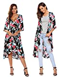 Pasttry Women's Floral Deep V-Neck Trumpet Sleeve Flowy Party Beach Cover up Wrap Dress